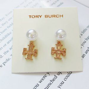 Tory Burch Elegant Logo Pearl Stud Earrings